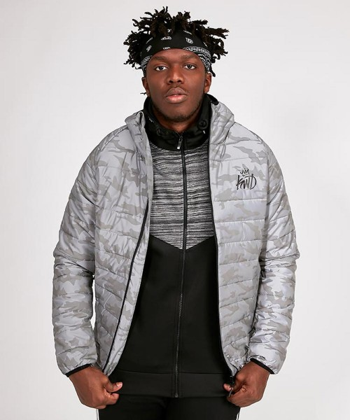 a7f19a523e7b8 Lawledge Reflective Puffer Jacket | Reflective Grey Camo | KWD