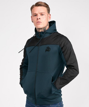Searlo Nylon Panel Poly Full Zip Hooded Top