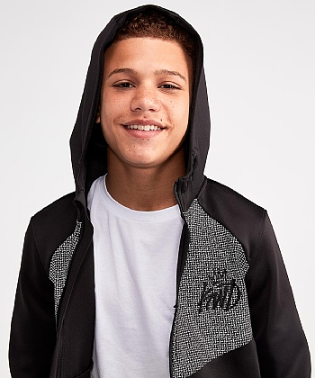 Junior Grid Hooded Top